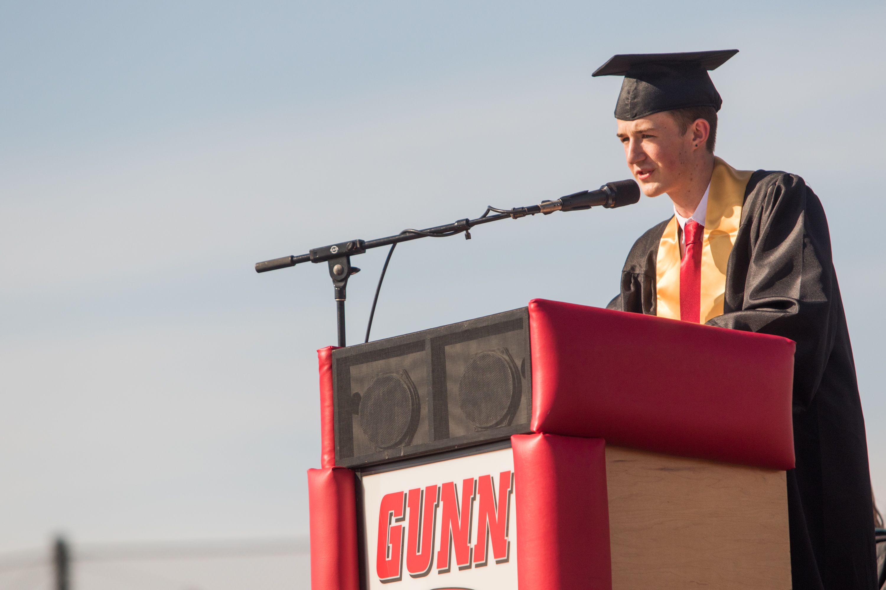 Gunn High School senior Jimmy Farley speaks about insecurity and mental health stigma at commencement.