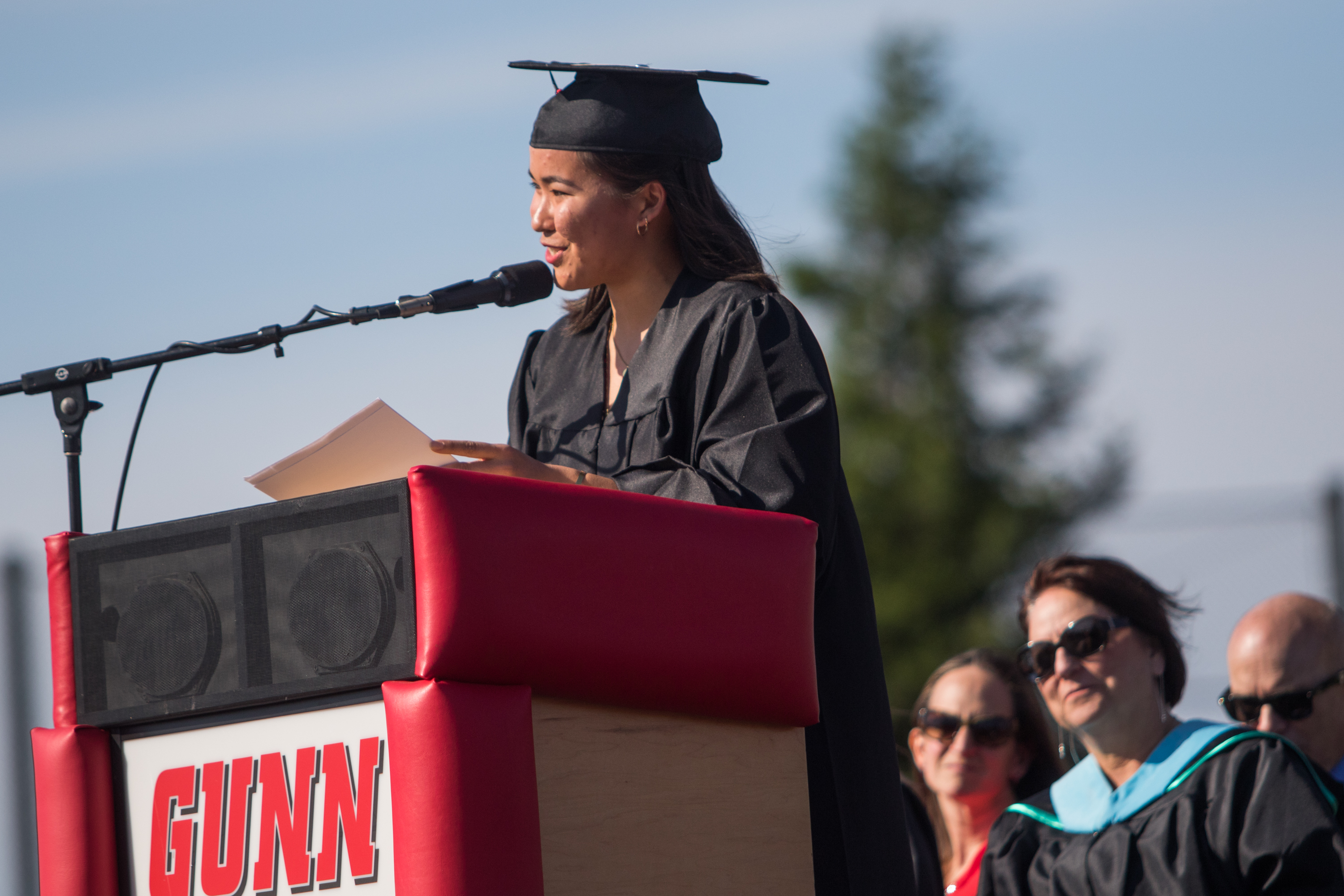 """During commencement speech,Gunn High School student Allie Chu opens up about her recent realization that her longtime focus on excelling at school has left her with an """"excellent facade."""""""