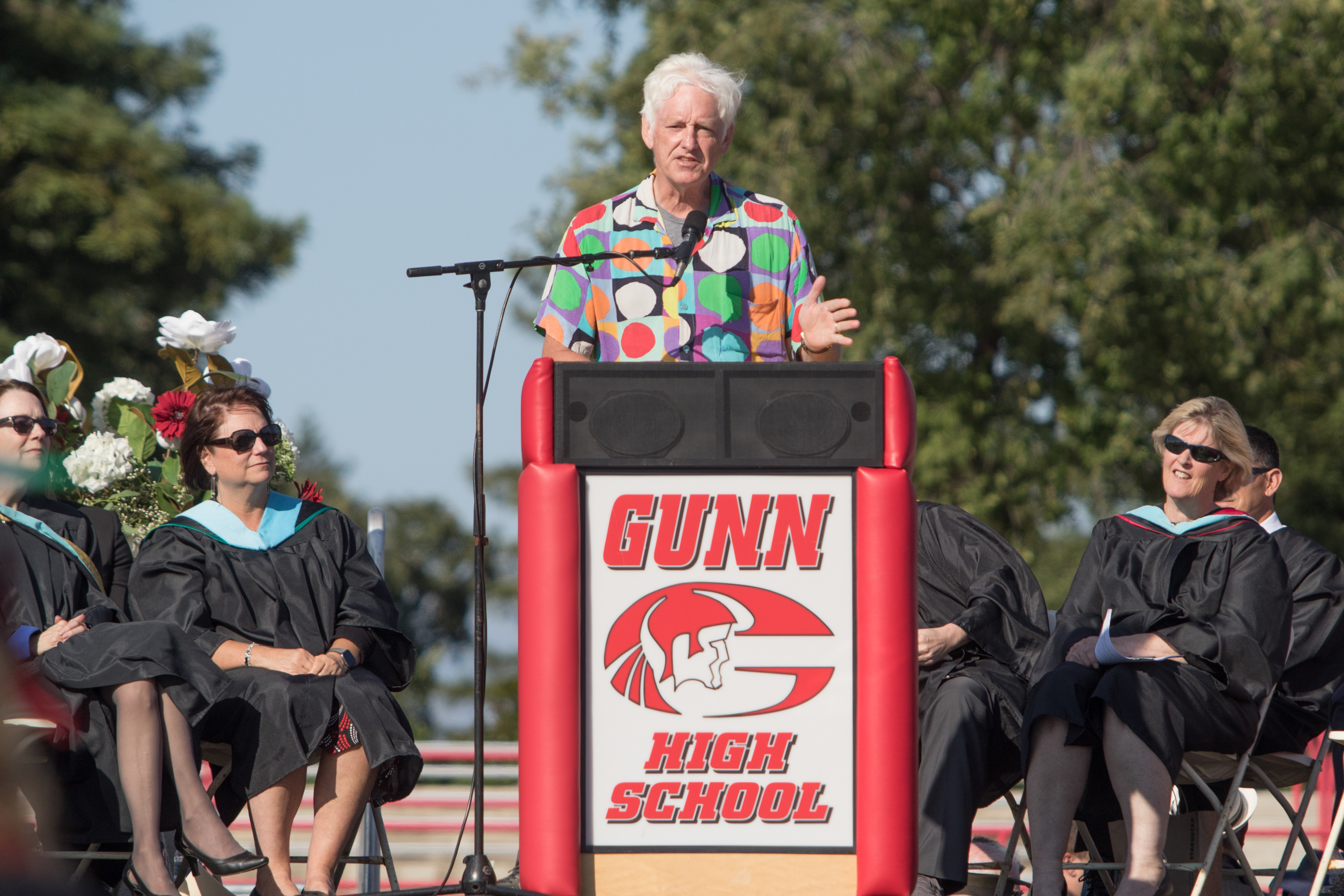Dr. Peter Norvig, director of research at Google, challenged theGunn High School Class of 2019 to consume technology more consciously and ethically during commencement.