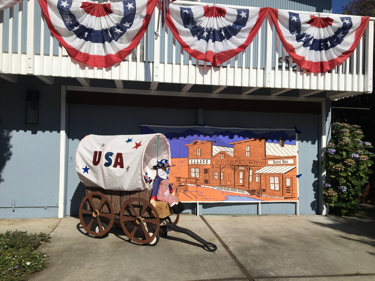 Dianna Richardson's Conestoga wagon is featured in her neighborhood's Fourth of July parade that she organizes. The event is partially funded by the city of Palo Alto. Photo courtesy Dianna Richardson.
