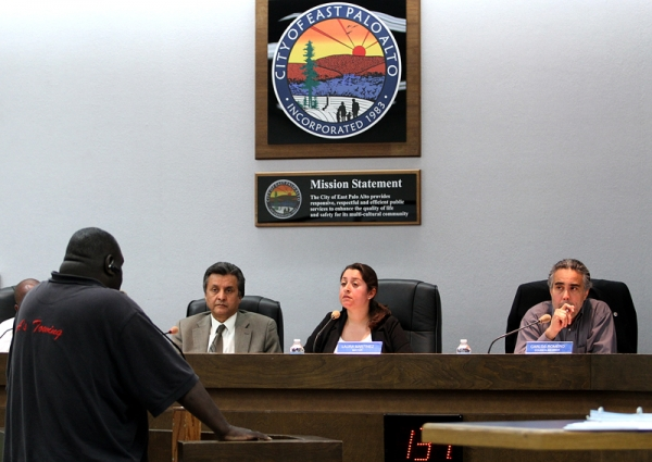East Palo Alto Mayor Laura Martinez, middle, listens to public comments during a City Council meeting in 2012. Photo by Veronica Weber.