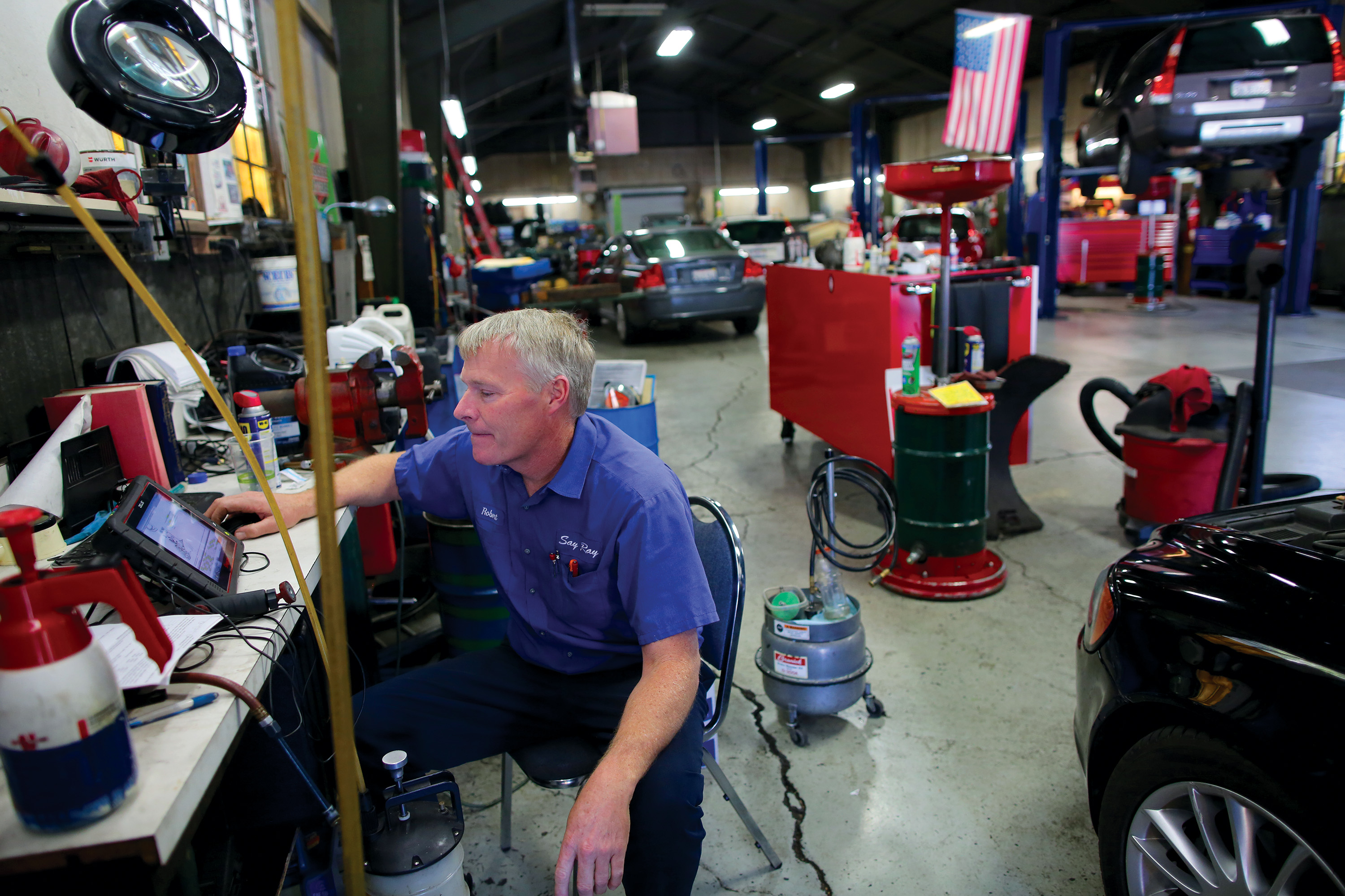 Robert Michel, an employee at Say Ray, started working at the automotive repair shop over 30 years ago cleaning floor. Photo taken Oct. 1 by Sammy Dallal.
