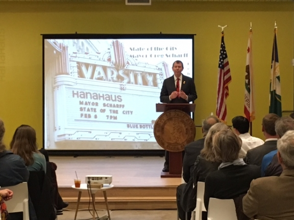 """Mayor Greg Scharff delivers his """"State of the City"""" speech at HanaHaus, a work and meeting space in downtown Palo Alto,on Feb. 8, 2017. Photo by Gennady Sheyner."""