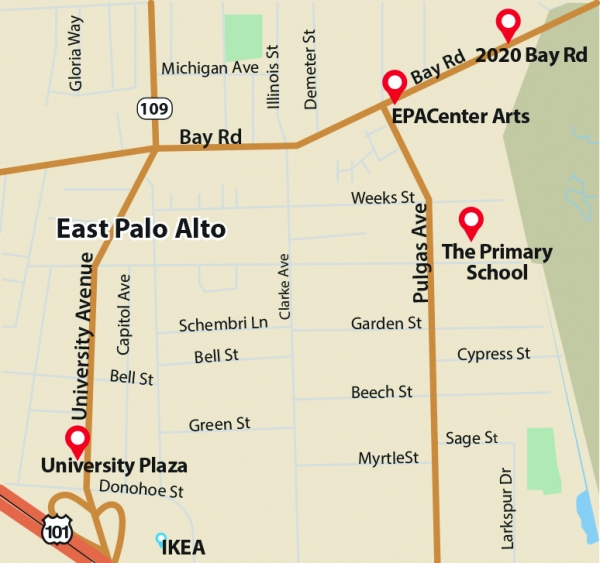 A proposed development at 2020 Bay Road is one of four major construction projects that could transform the cityscape in East Palo Alto in the next couple of years. Map by the Weekly.