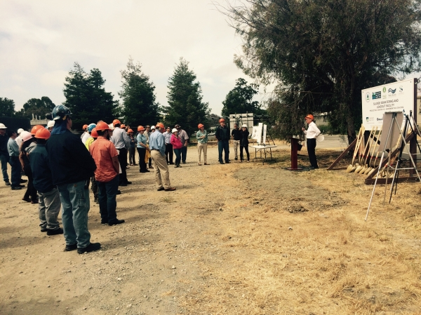 A groundbreaking ceremony was held May 24, 2017 for a new sludge dewatering and load-out facility at the Palo Alto Baylands, which will allow the city to decommission its two incinerators. Photo by Sarah Mason.