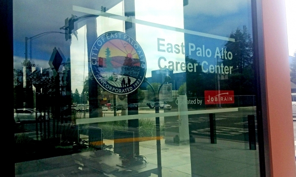 Financed by the Sobrato Organization, the East Palo Alto Career Center is located in the Amazon campus on University Avenue in East Palo Alto. It opened in November 2017. Photo by Tara Madhav.