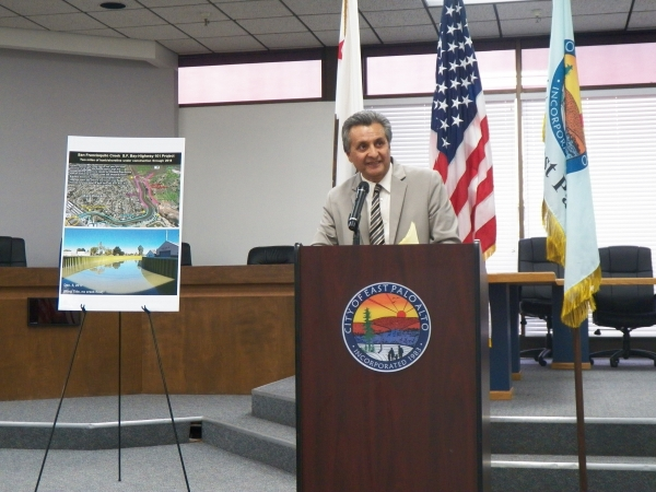 East Palo Alto Mayor Ruben Abrica said the city is working to have an adequate supply of affordable homes during his State of the City address on Aug. 20, 2018. Photo by Sue Dremann.