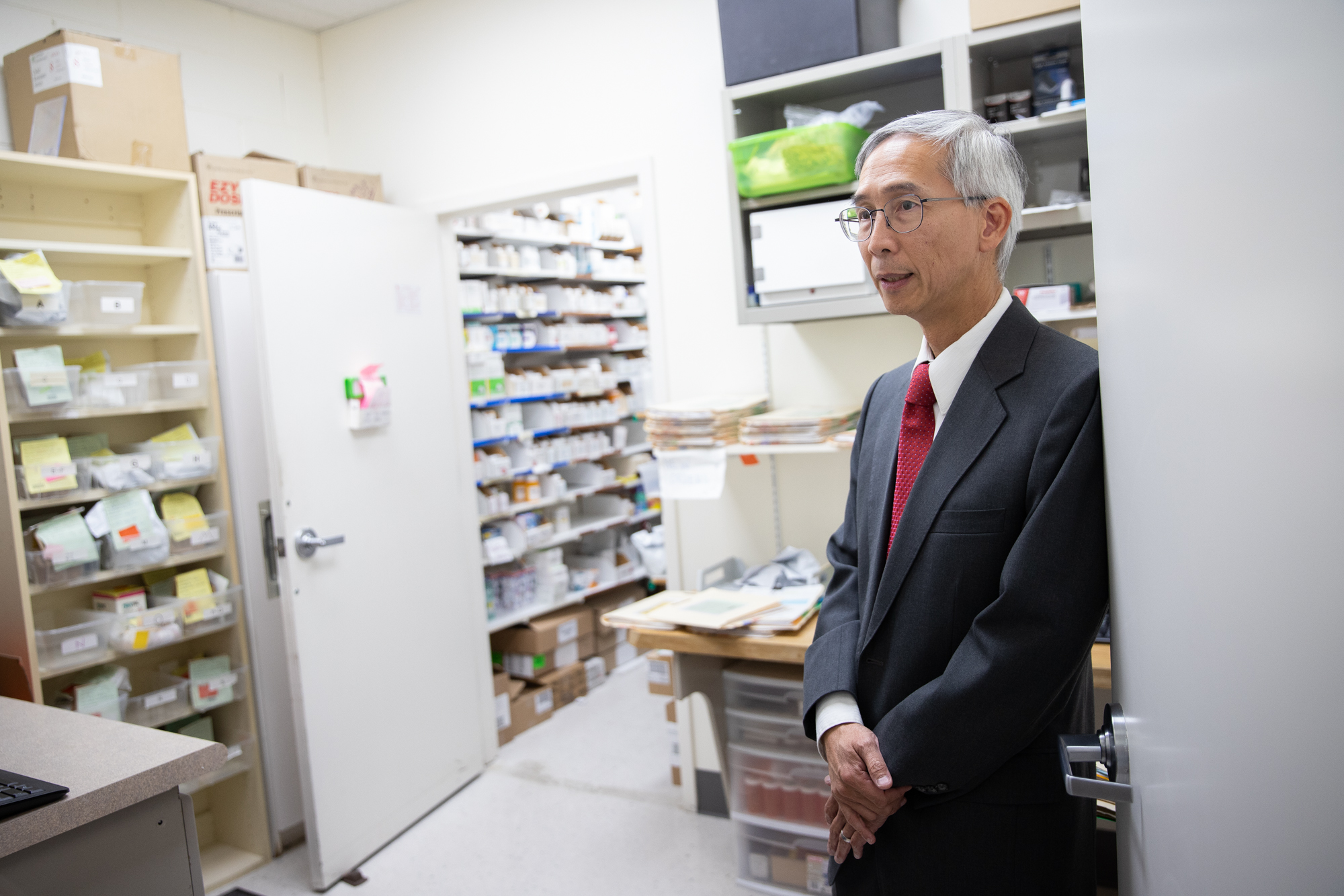 Dr. Jason Wong, medical director at Samaritan House's North Fair Oaks Clinic, says the food pharmacy has been as helpful for patients seeking to control their diabetes as an oral medication. (Photo by Magali Gauthier/The Almanac.)