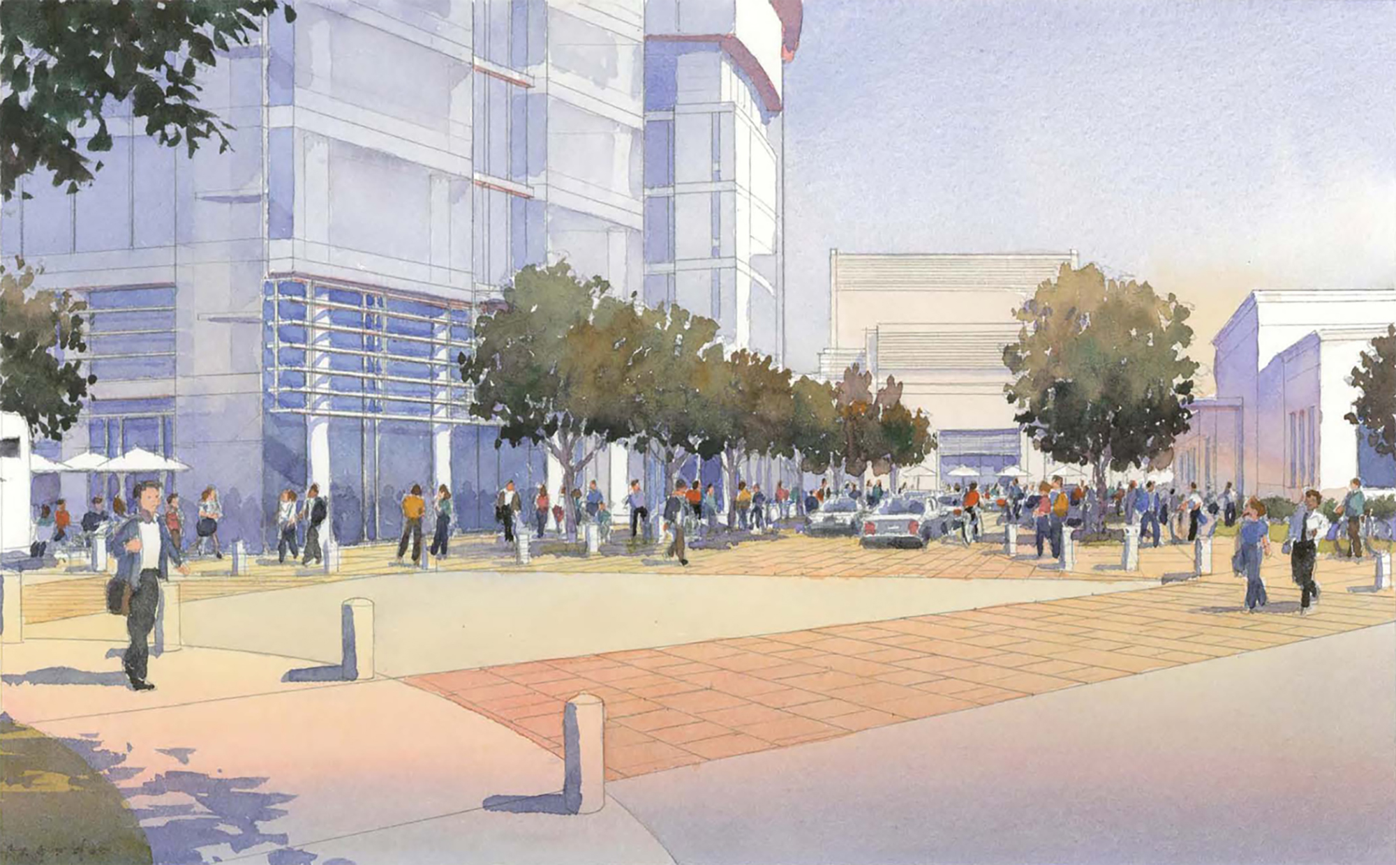 Developer and philanthropist John Arrillaga envisioned adding four office towers and a performing arts theater at 27 University Ave. in Palo Alto.Rendering courtesy city of Palo Alto.