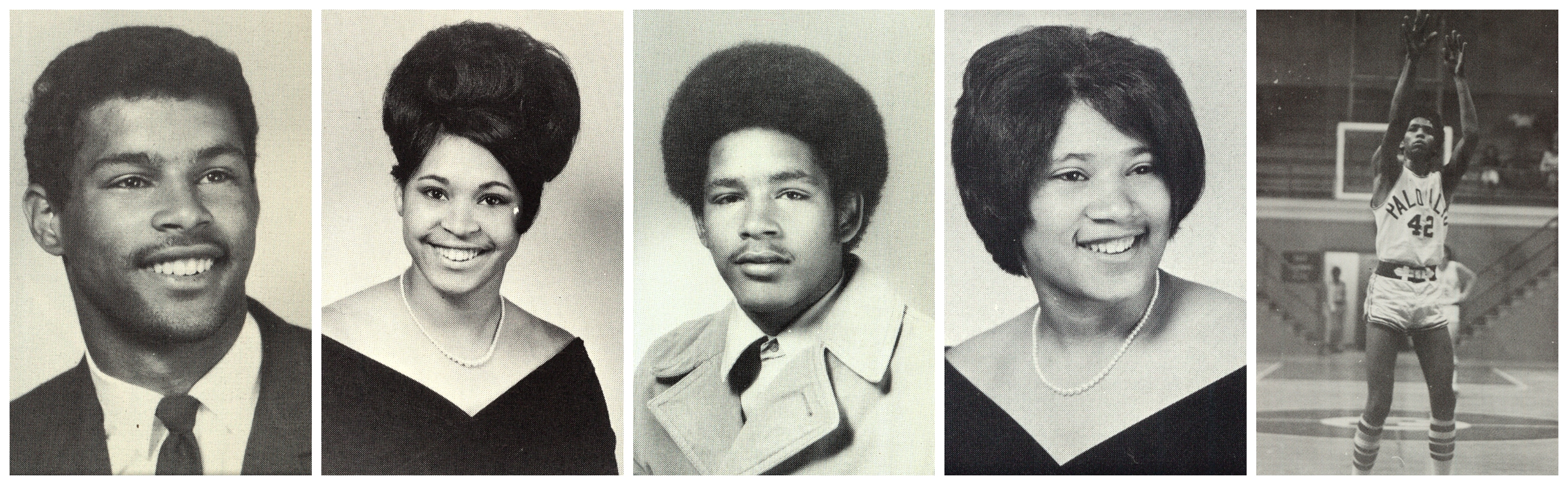 From left, siblings John Brown, Nadine Brown, David Brown, Angel Brown and Jimmy Brown, a star basketball player at Palo Alto High School. Images courtesy the Brown family.