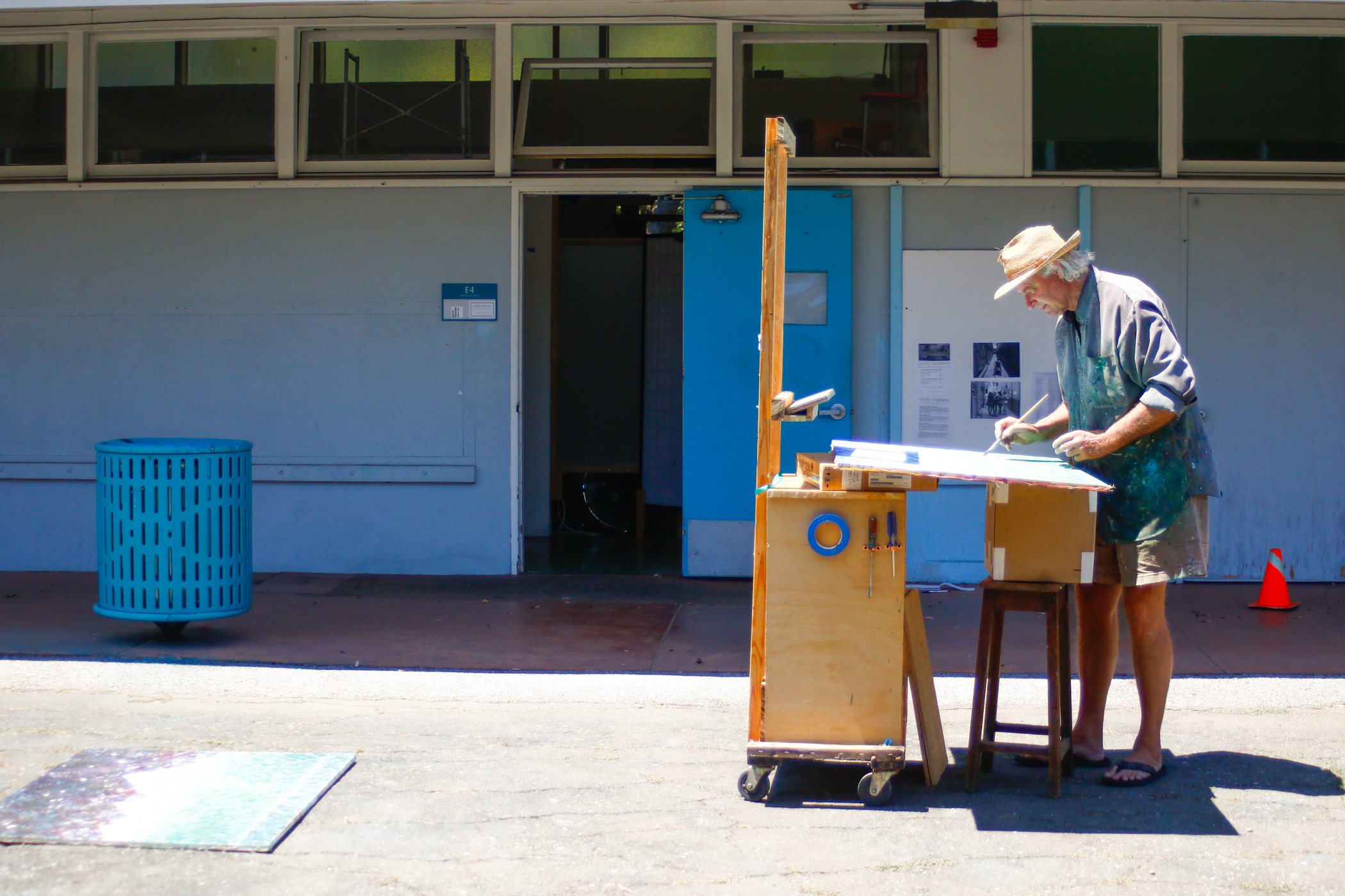 Artist Conrad Johnson works on his paintings outside of the studio he has rented for more thantwo years. He is one of 28 artists renting space at the center aspart of the CASP program to support local artists.