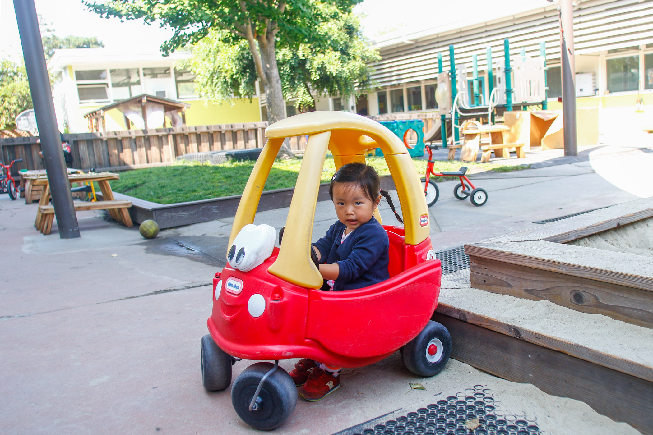 Iris, a preschooler at the nonprofitChildren's Preschool Center, plays inone of three playgrounds at theschool, which has provided services for babies through children age5 in its 10 rooms at Cubberley for more than 30 years.