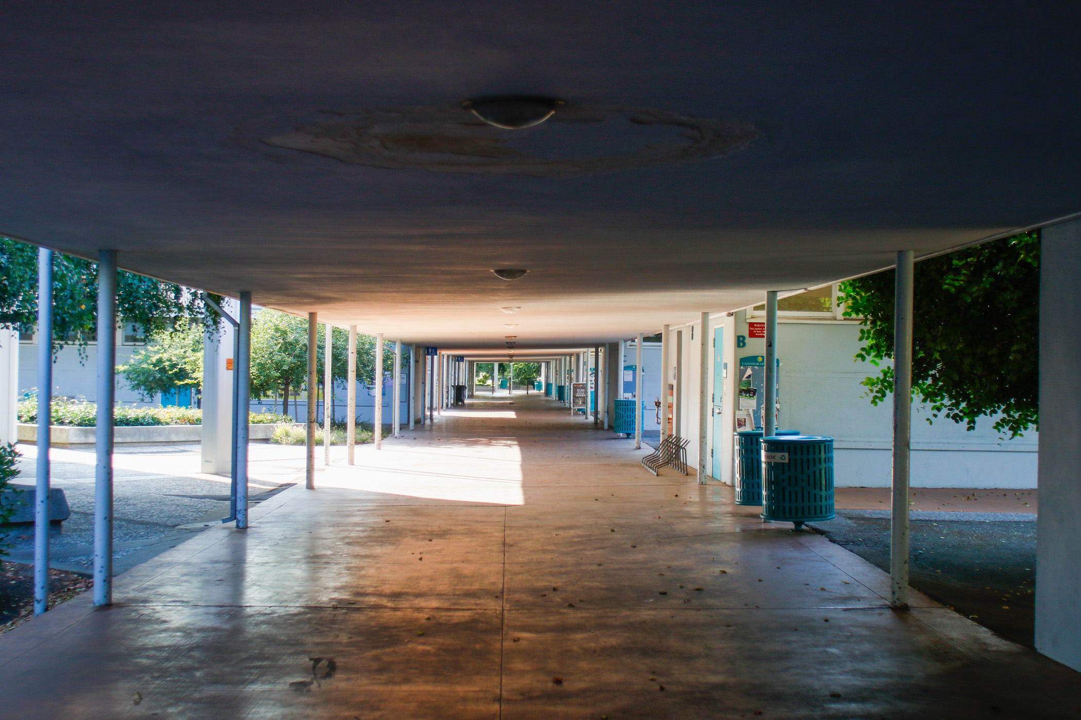 One of the many long hallways at Cubberley.