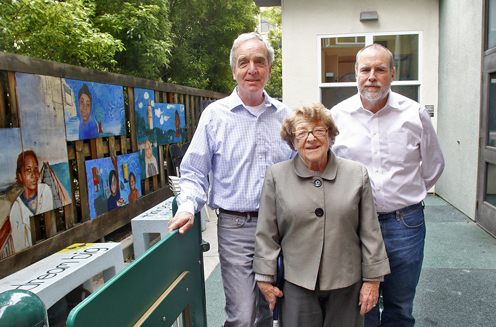 From left, Don Barr, Litsie Indergand and John Barton, founders of the Community Working Group, stand at the Opportunity Center, which took their nonprofit eight years to build. In addition to the initial fund raising, the group has donated millions of dollars towards operations since 2006.