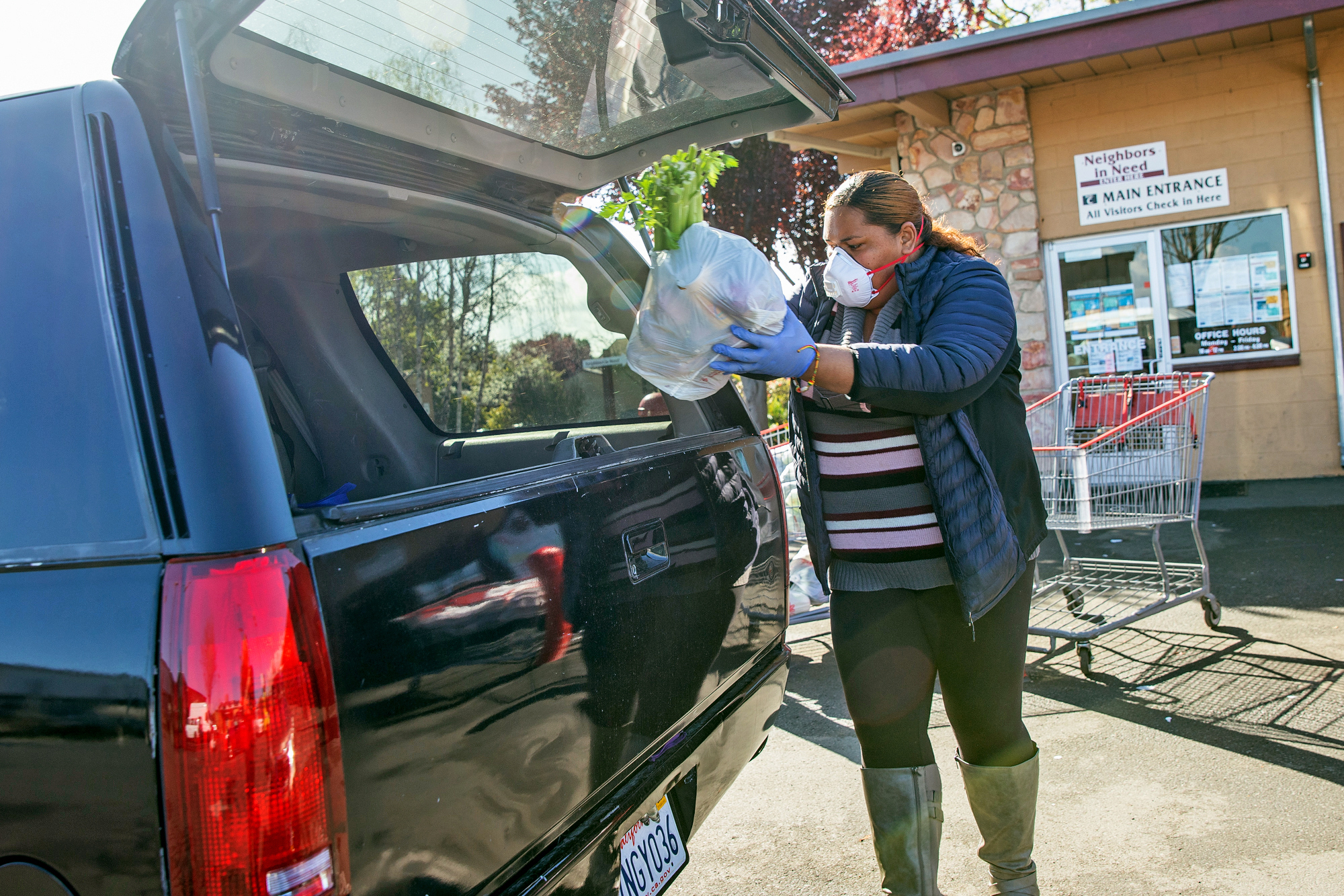 Lene Lauese, a staff member at the nonprofit Ecumenical Hunger Program, puts a bag of produce in a client's car at a drive-through station set up in East Palo Alto on March 19. Photo by Magali Gauthier.