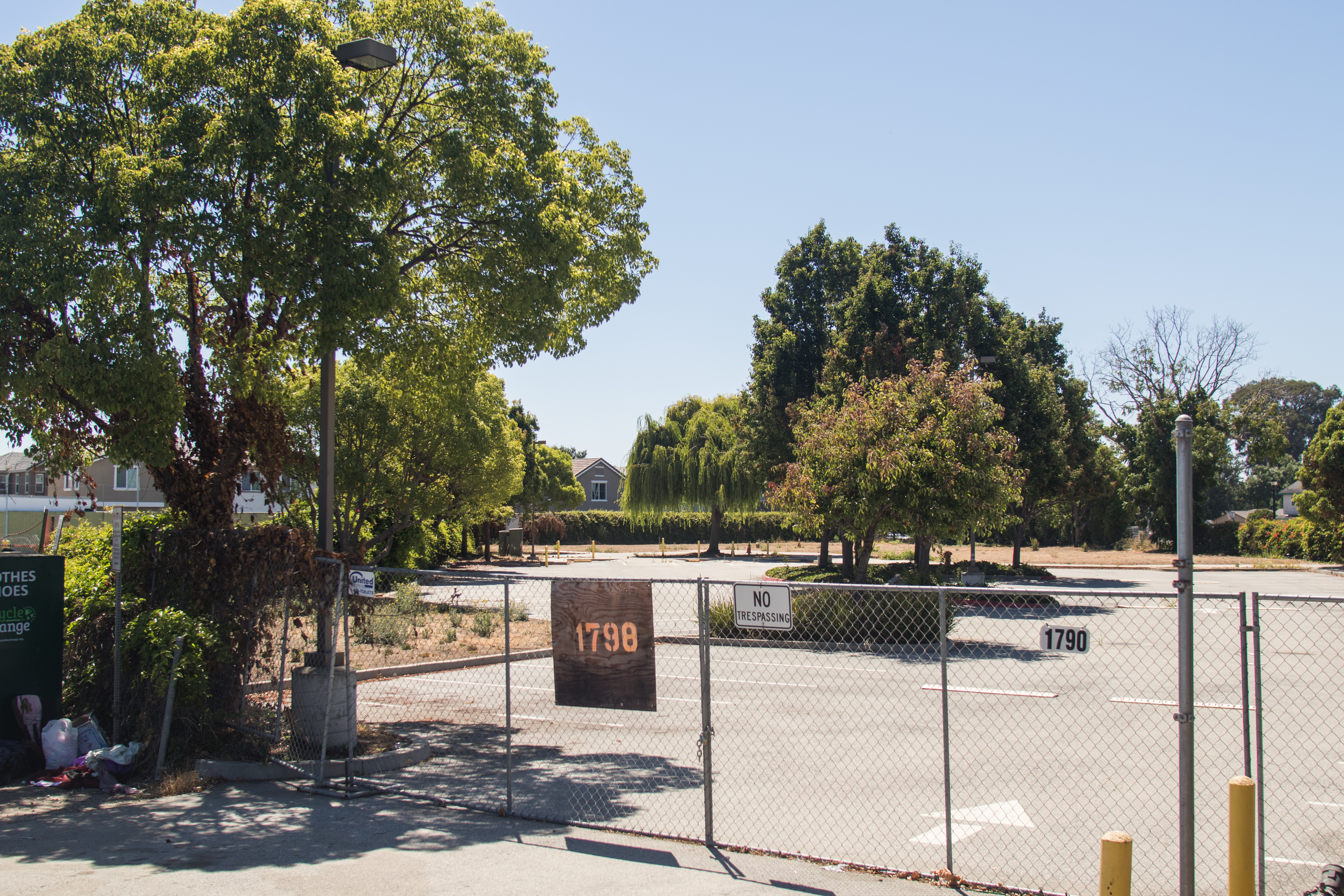 The parking lot at 1798 Bay Road in East Palo Alto is set to become a temporary overnight RV parking lot in a program that will include case management and other services. Photo by Veronica Weber.