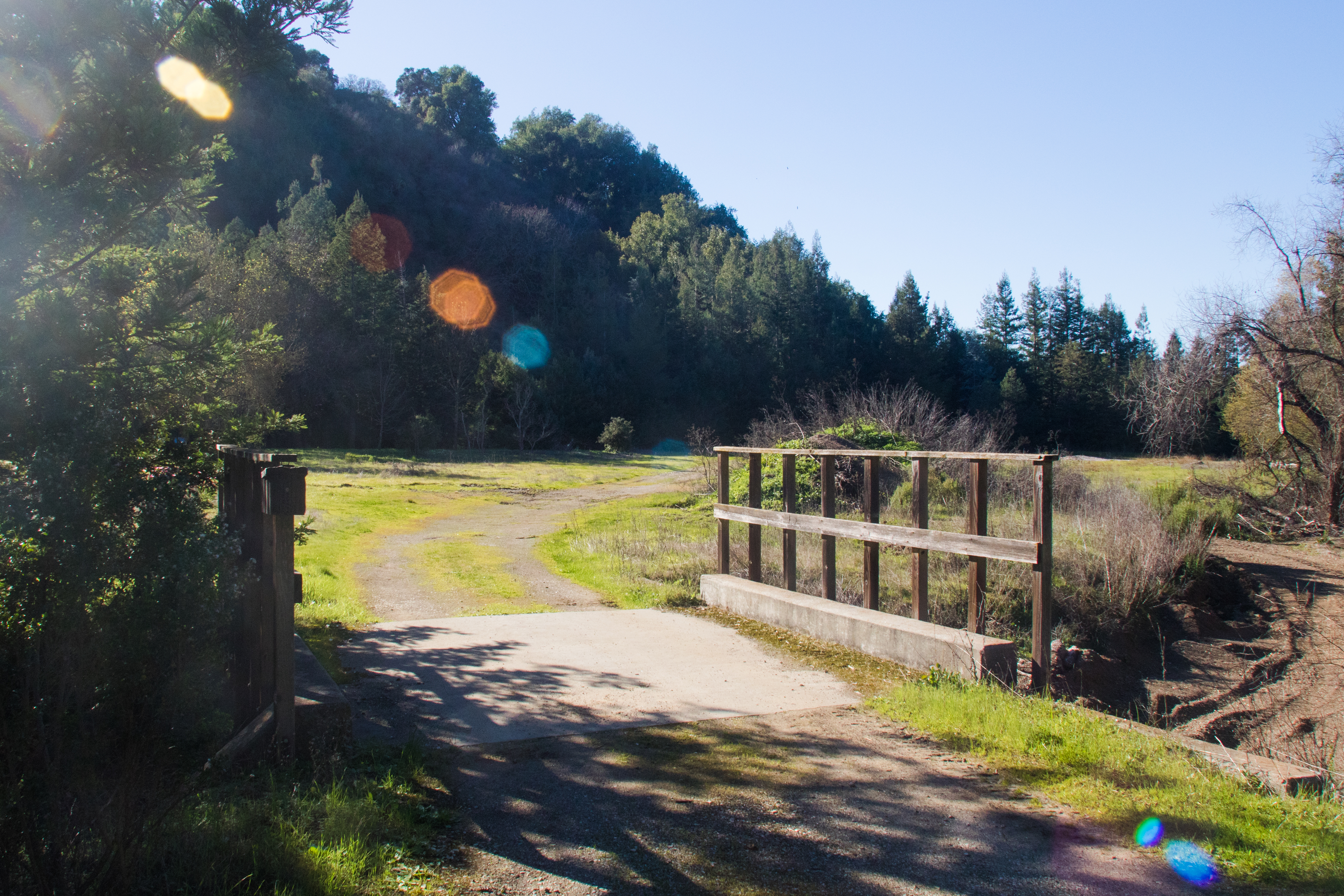 A footbridge crosses over Buckeye Creek at the entrance to the city's new 7.7 acre parcel of land at Foothills Park.