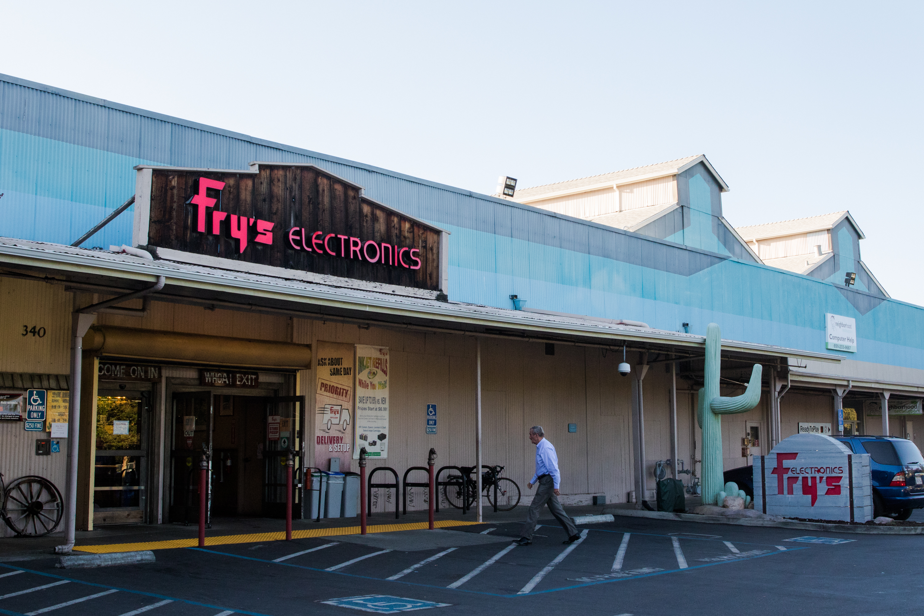 Fry's Electronics at 340 Portage Ave., which is set to close in January 2020, was once used for canning and is now considered a historic building in Palo Alto. Photo by Veronica Weber.