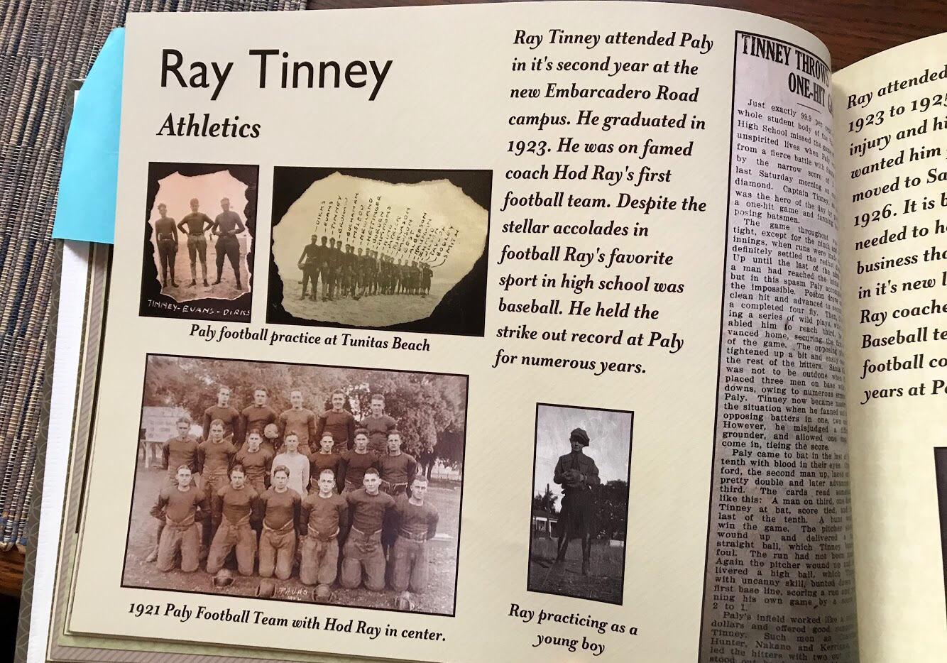 Ray Tinney, who graduated in 1923, was on legendary coach Hod Ray's first championship football team. Photo by Elena Kadvany.