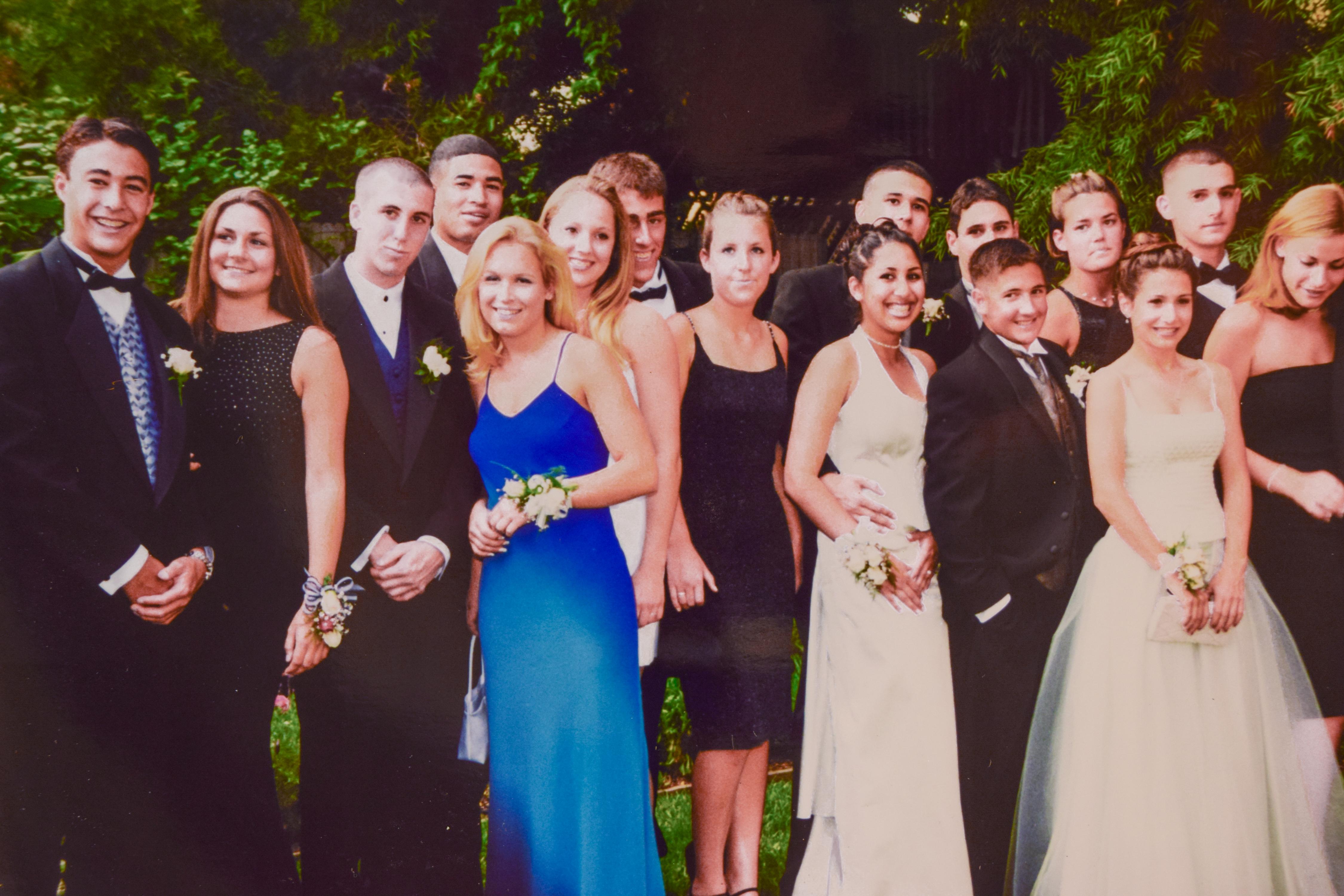 Kellan Hori, far left, and his classmates pose for photos before heading to prom. Photo courtesy Kellan Hori.