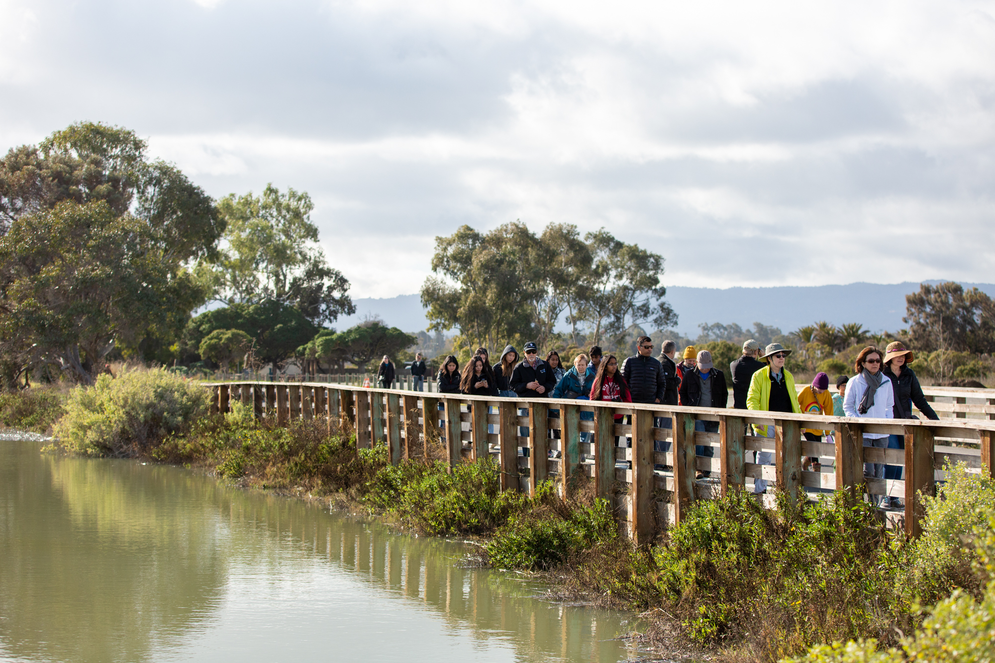 A group of visitors walks past a higher-than-normal sea level that nearly reaches the road at the Palo Alto Baylands Nature Preserve during a king tide on Jan. 12.