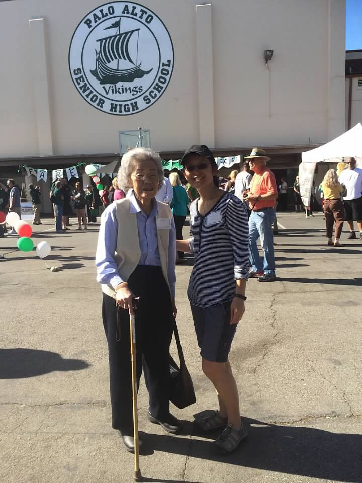 Irene Mock, left, and her daughter, Kimberley Wong, right, attend a farewell celebration for Palo Alto High School's gym in 2014. Photo courtesy Kimberley Wong.