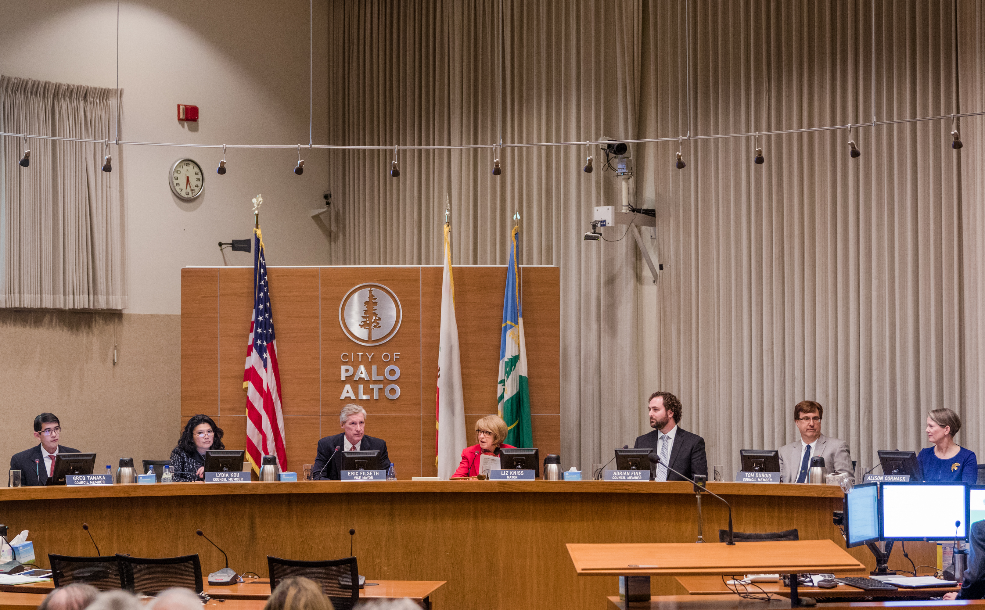 The Palo Alto City Council was redeuced from nine to seven members at the beginning of 2019. File photo by Veronica Weber.