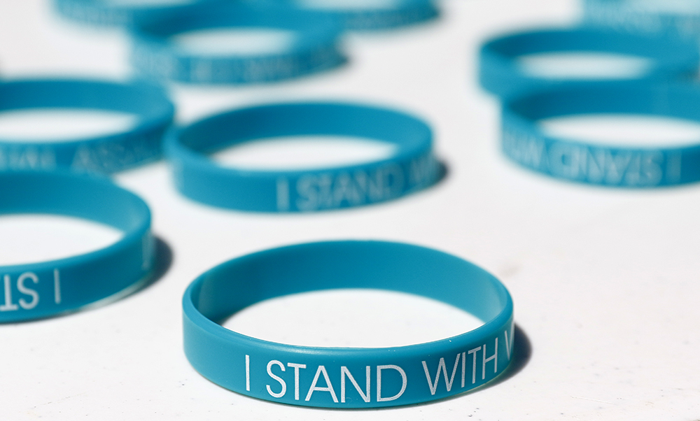 A Palo Alto High School student raised $2,000 through a GoFundMe campaign to purchase 2,600 wristbands in the wake of news reports that a male Paly junior had been accused of multiple sexual assaults, including an on-campus incident, and remained on campus until May 16, 2017. Photo by Veronica Weber.