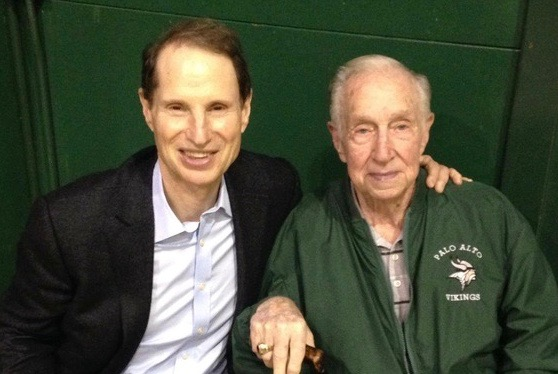U.S. Sen. Ron Wyden, left, was a formerbasketball player atPalo Alto High School where heplayed for famed coachClem Wiser, right. Photo courtesy Ron Wyden.