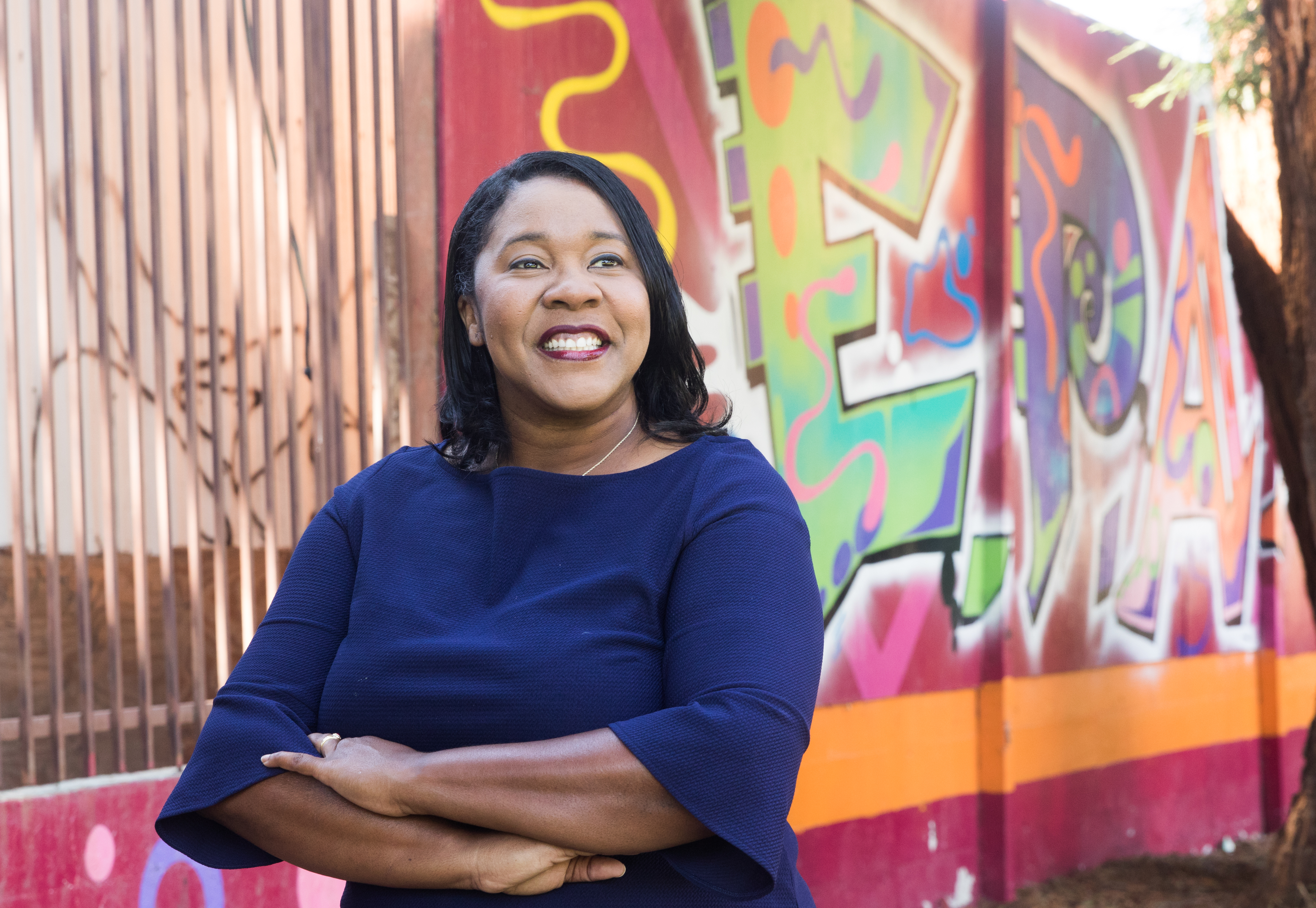 East Palo Alto City Council candidate Regina Wallace-Jones said the goal should be not to tax corporations. Rather, the city should strive to get all entities to do their fair share. Photo by Veronica Weber.